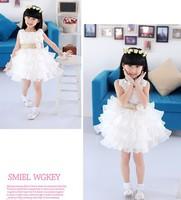 2013 Girls sleeveless Waist Chiffon Dress Kids 3D Flower Tutu Layered Dress Princess Party Bow Formal Dress Wholesale Hot Sell!