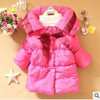 2013 Winter children  Parkas Pure color bowknot hubble-bubble sleeve children  Parkas  baby  Coats