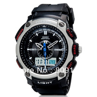 New 2013 OHSEN 1209 Brand Unisex Dual Movement Analog & Digital Waterproof Sports Women & Men Watch (6 Color)