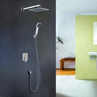 [B&R]3 Color LED Shower Head +Valve+Hand Spray Bathroom Shower Set polished Chrome BR-S1010-w