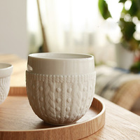 Free shipping Zakka Imitation sweater embossed ceramic double coffee cup/Breakfast Cup/Mugs/Wholesale(5 Pieces/Lot)