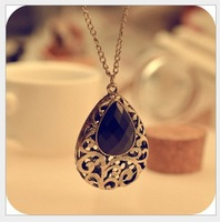 2013 Free Shiping Han Edition Retro Hollow Out Big Drop Necklace Long Sweater Chain