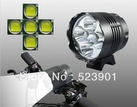 Hot Sale 6000LM Lumens 3 Mode Cree Xm-L 5*T6 LED Bicycle Headlight Bike Light Head Lamp with Super 5x T6 LED+8800mah Battery