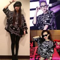 100% cotton.New 2013 big bang fashionT shirt . Church skull short sleeve fashion t shirt for men and women, big size