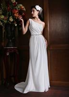 A-Line One Shoulder Floor-Length Chiffon Wedding Dress With Beaded Belt HWGJWD161
