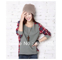 2013 NEW KOREA STYLE ROUND NECK PLAID STITCHING LOOSE LONG-SLEEVED T-SHIRT WOMEN FASHION SIZE S M L XL  WHOLESALE PRICE