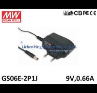 MeanWell 6W 9V 0.66A Single Output Wall mounted type Green Adaptors GS06E-2P1J 2 pole European plug Adapters TUV CB CE FCC
