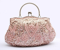 2013Hot Sale classic  handmade beaded Evening bag multicolor optional handbags Embroidery women clutch bag wholesale colorstock