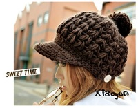 Women's autumn and winter ear wood button knitted hat knitting wool cap knitted hat warm hat