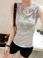 Wholesale Women's summer 2013 sleeveless chiffon shirt lace shirt patchwork basic shirt slim crochet Free shipping