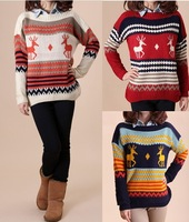 2013 winter long-sleeve loose batwing sleeve pullover sweater onta pattern women's sweater outerwear