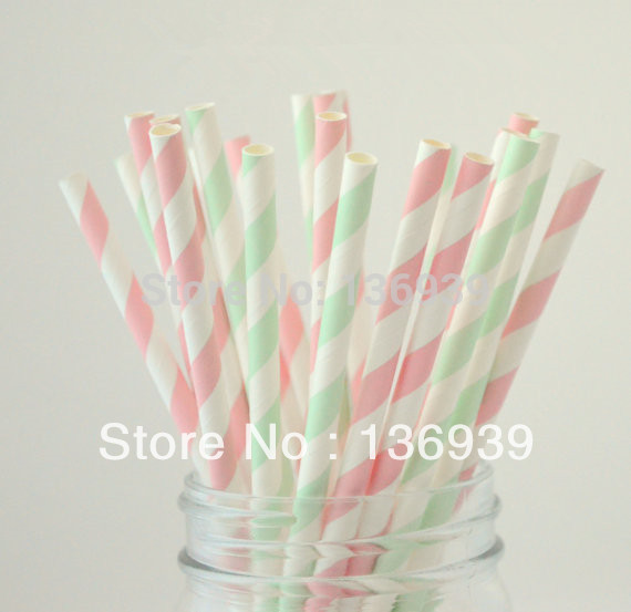 100pcs light pink and Mint green Paper Drinking Straws Striped,Wedding & events, Birthday ,Festive Party Supplies(China (Mainland))