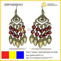 free shipping Drop Earrings,Red vintage earrings