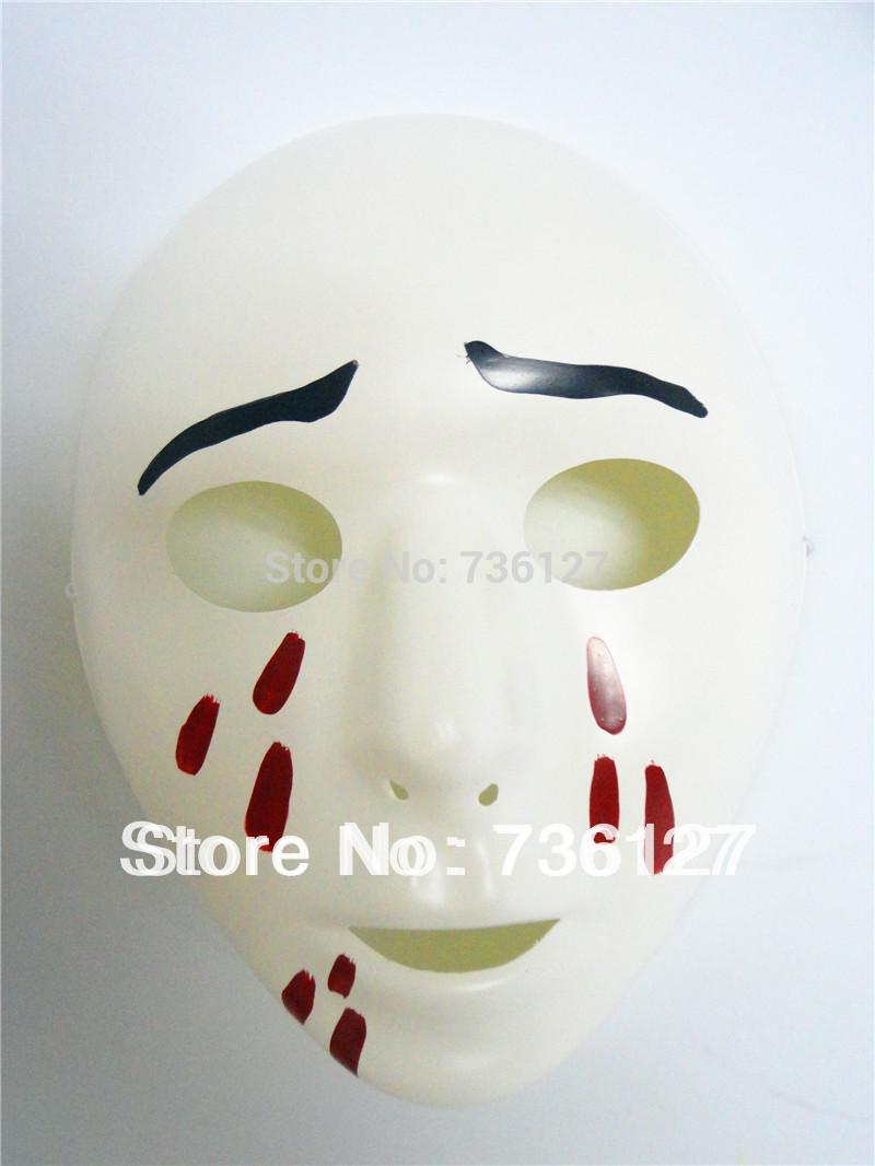 Branco máscara fantasma Sorrowful com Bloody Tears Make engraçado para o carnaval de Halloween e outros adereços Masquerade partido(China (Mainland))