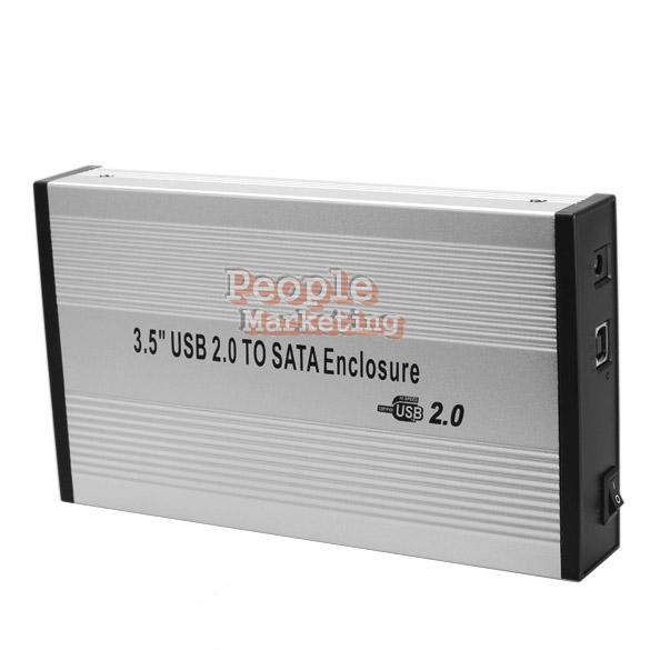 3.5 inch Silver USB 2.0 SATA External HDD HD Hard Drive Enclosure Case Box P4PM(China (Mainland))