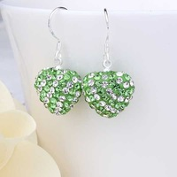 New Arrival!!Wholesale 925 Silver Earring,Disco Ball Bead,Cute Crystal Heart Shamballa Earring,Fasion jewelry SBE125