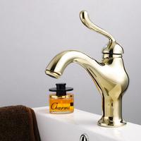 Fashion antique golden copper single hole bathroom wash basin faucet vintage hot and cold faucet