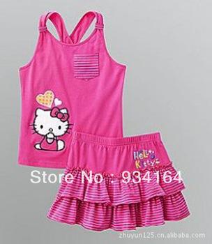 Hello Kitty Suit Condole Belt Pocket Decor Heart Print Sleeveless Child Kid Girl T shirt One Set+ Mini Layered Skrit Girl Suits