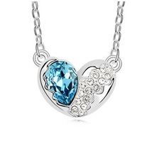 Free Shipping 2013 New Arrived Austrian Crystal Necklace Heart-Shaped Pendants Fashion Jewelry  Korean Hot Sale For Girl Friend