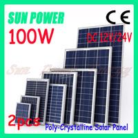 Free shipping 100W 12V/24V Module Polycrystalline Solar Panel , PV panel ,solar system 2pcslot