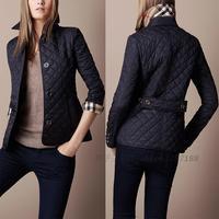 high quality 2013 new ladies' jacket fashion women's jacket b single breasted plaid wadded jacket trench coat