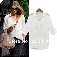 Wholesale Price Women's Chiffon Shirts Double Pockets Full Sleeve Blouse Casual V-neck Tops Shirts