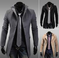 Winter new 2013 men's windbreaker Korean men's long coat cashmere woolen Slim coat