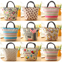 Free Shipping Print Portable Lunch Bag Lunch Bags Canvas Waterproof Boxes Package Small Bag