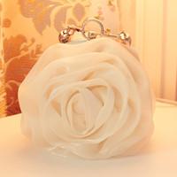 2013 women's handbag bag sided satin silk chiffon rose flower evening bag fashion bag