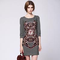 Fashion royal 2013 vintage print three quarter sleeve one-piece dress