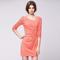 2013 autumn women's patchwork lace three quarter sleeve V-neck pleated slim one-piece dress