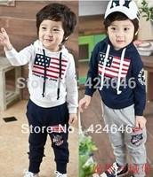 wholesale--2013 100%cotton sport set Children clothing set hoodies+pant,2pcs/set American flags baby set 5pcs/1lot