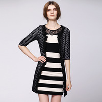 2013 autumn black and white color block nsutite plaid three quarter sleeve knitted overcoat outerwear women's