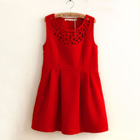 Hot-selling 2013 cutout dress princess bride red woolen tank dress autumn and winter sleeveless one-piece dress