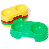 Plastic one piece pet   dog double bowl water bowl pet bowl