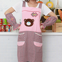 Fashion bear apron plaid belt oversleeps kitchen apron set  Free shipping