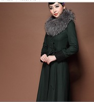 free shipping Fashion slim long design women's woolen overcoat outerwear