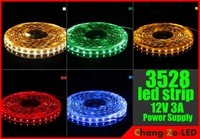Free shipping 5M 3528 White/Warm/Blue/Red/Green/Yellow 300Leds NO-Waterproof Strip light+12V 3A Power Supply