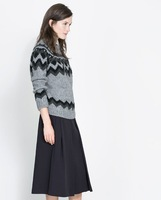 New Arrival Fashion Designer Brand Autumn Womens Pullovers Vintage Striped Geometry Sweater Grey S/M/L