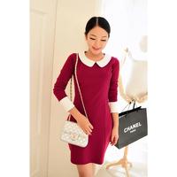 2013 autumn women's slim color block turn-down collar long-sleeve dress elegant dz2261