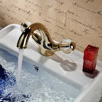 fashion golden copper bathroom faucet cold and hot water wash basin faucet