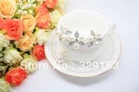 Free Shipping  Bridal  Crystal white Pearl Clover Flower  Hair Pins Silver Plating  2.5*2.5*7cm 120pcs/Lot PVC Box Packing