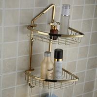 double layer gold plated copper triangle corner basket tripod shelf