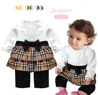 Autumn female child plaid bow elegant p35 bodysuit