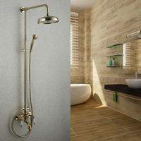 Gold plated bathroom shower head set copper shower set