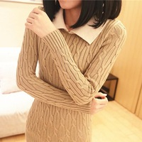 2013 autumn close-fitting slim long-sleeve basic shirt peter pan collar slim hip long design sweater women