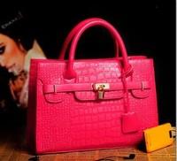 2014 New arrival fashion designer women handbag CROCO brand lock leather bags vintage crocodile pattern shoulder bag promotion