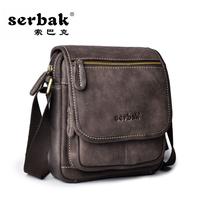 Male genuine leather shoulder bag messenger bag vintage fashion nubuck cowhide men's lather-bag casual bag