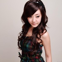 Wire wig fluffy oblique bangs long curly hair repair all-match fashion female wig n08