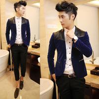 men's fashion new Fashion classic elegant leather mosaic multicolor slim velvet blazer suit a233   free shipping